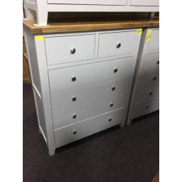 LIGHT GREY 2 OVER 4 CHEST WITH OAK TOP!