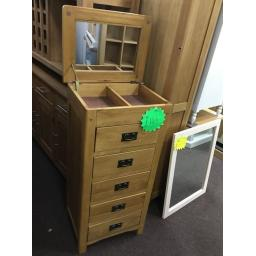 GOOD QUALITY TALL NARROW CHEST WITH MIRRORED LIFT UP LID AND DROPPED HANDLES!! ( NEW )