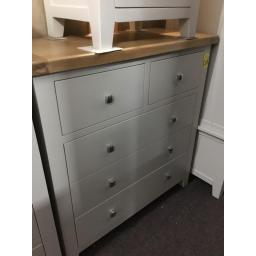 LIGHT GREY 2 OVER 3 CHEST WITH OAK TOP!!