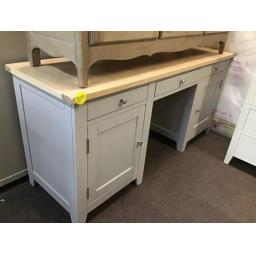 GREY DOUBLE PEDESTAL DESK WITH REAL OAK TOP
