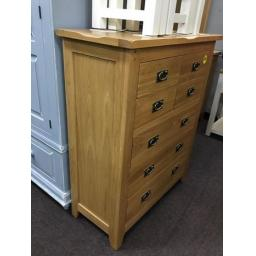 GOOD QUALITY OAK 4 OVER 3 CHEST!