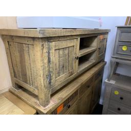 Reclaimed Wash Waxed Solid Pine TV Cabinet/Fully Assembled TV Stand/Shabby Chic Furniture