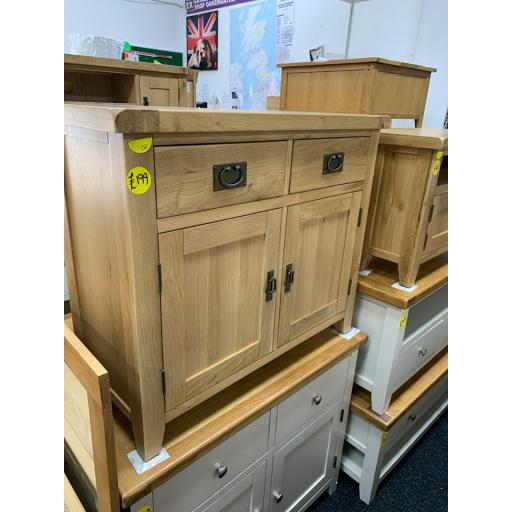 RUSTIC REAL OAK 2 DRAWER 2 DOOR SIDEBOARD