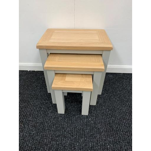 LIGHT GREY NEST OF 3 TABLES WITH OAK TOP!!