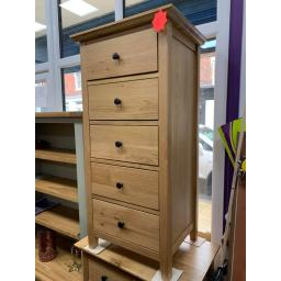 Hereford Rustic Oak 5 Drawer Slim Chest
