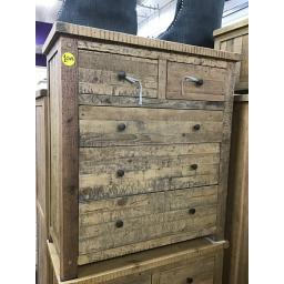 Solid Reclaimed Waxed pine Tall 2 Plus 3 Chest of Drawers ( NEW )