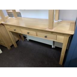 Real Oak Large 3 Drawer Console Table