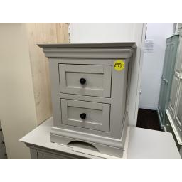 Grey 2 Drawer Bedside Table in Painted Hardwood