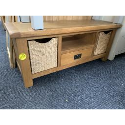 Rustic Real Oak Tv unit with wicker Baskets - New