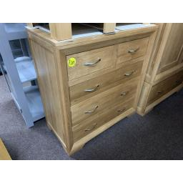 Natural Solid Oak 5 Drawer Chest