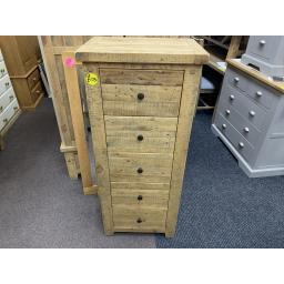 Reclaimed Solid Pine Tall 5 Drawer Chest Of Drawers