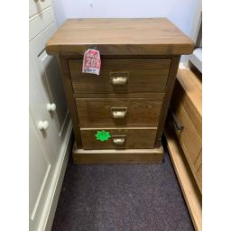 Dark Solid pine 3 Drawer Bedside