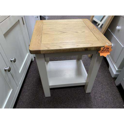 Stone Grey Side Table With Real Oak Top
