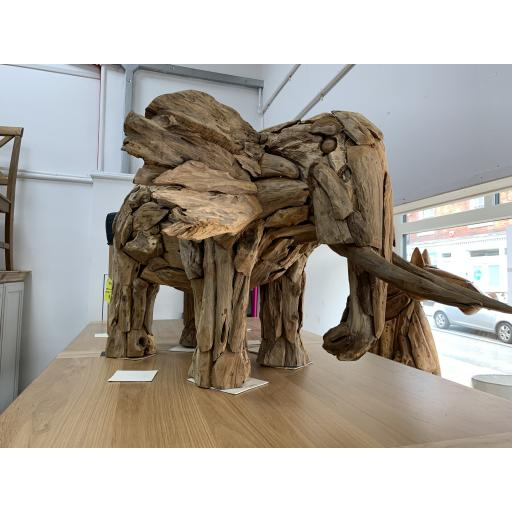 Teak Root Elephant Sculpture