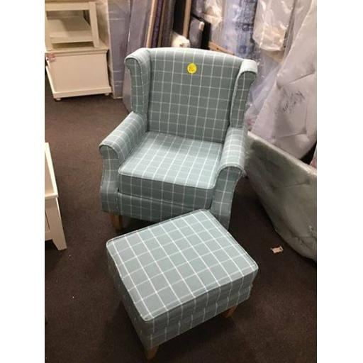 Wingback Chair - Duck Egg Check !! NEW !!