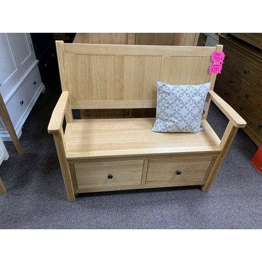 GOOD QUALITY OAK HALL BENCH WITH DRAWERS WITH DOVETAIL JOINTS!
