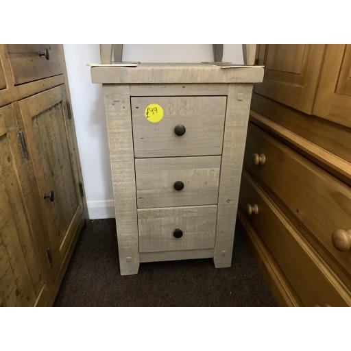 Reclaimed White Washed Solid Pine 3 Drawer Bedside Cabinet / Table