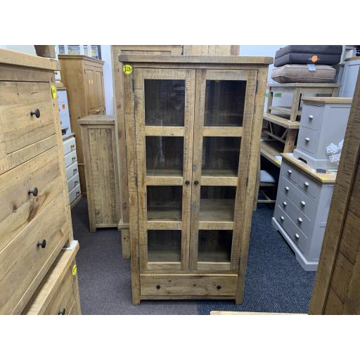 Reclaimed Solid Pine Glazed Display Cabinet With 2 Doors