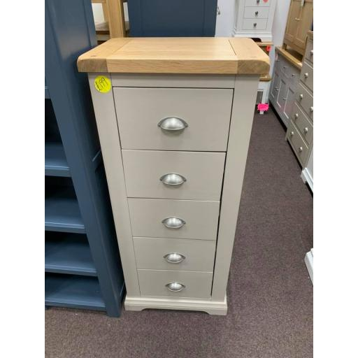 Solid Painted Oak 5 Drawer Tall Chest of Drawers