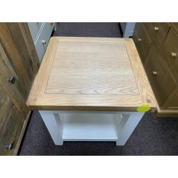 Lamp Table White and Oak Top