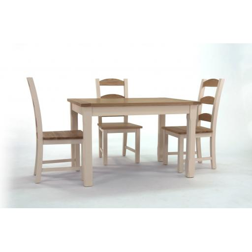 Cream & Oak Table and 4 Chairs ( NEW )
