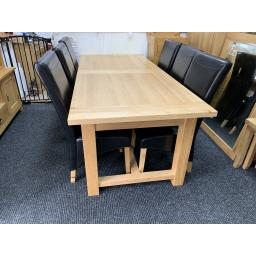 Oak Large Dinning Table with 6 Black leather Chairs ( Tall back )