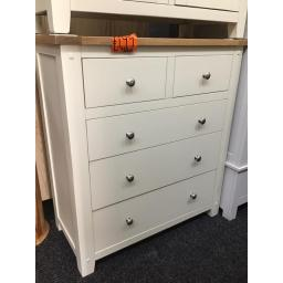 Good quality cottage cream 2 over 3 Chest with oak top!