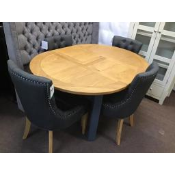 BLUE 110-150cm Ext. Round Dining Table with 4 Upholstered Button Back Chair - Charcoal
