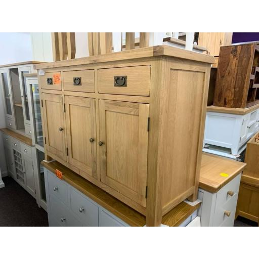 Solid Natural Oak Triple Sideboard with 3 Doors 3 Drawers