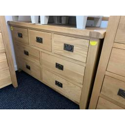 Oak 3 over 4 Chest of Drawers With metal Dropped handles