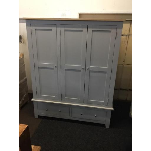Good Quality Grey Triple Wardrobe With Oak Top.