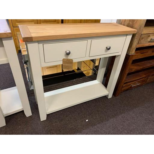 Ivory Console Table with Oak Top