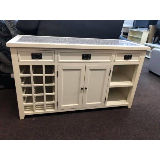 Cream Single Sided Kitchen Island with Granite Top
