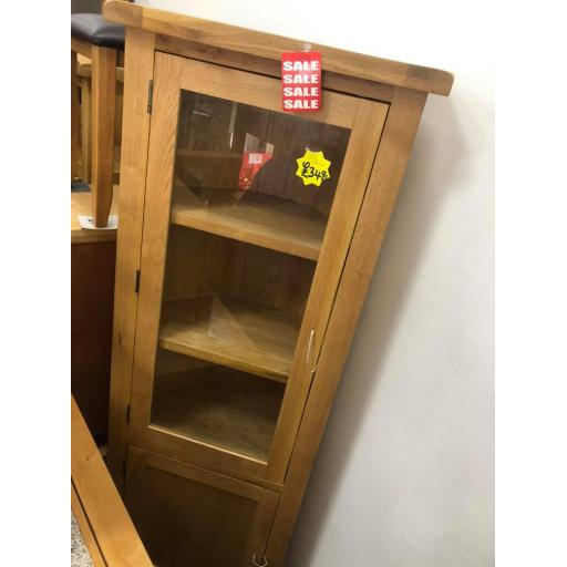 real oak corner display unit