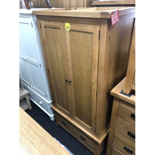 Real Oak Double Wardrobe with Drawer