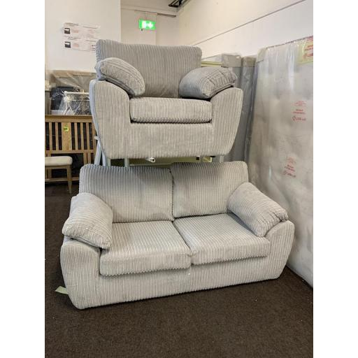 Grey 2 seater Sofa Bed and chair Set in a jumbo cord material with foam filled base cushions