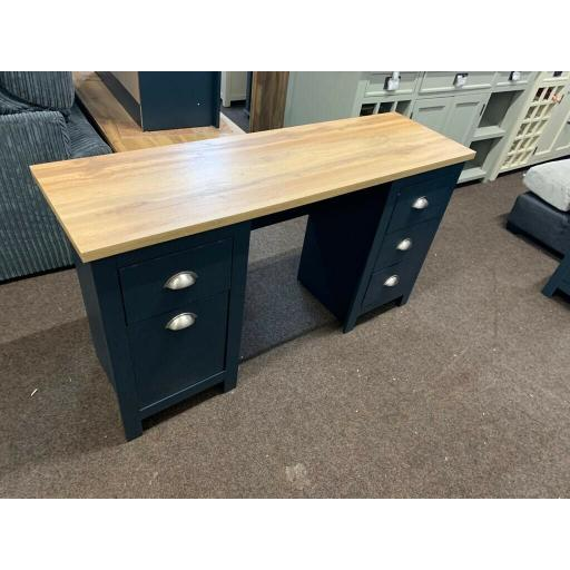 Aqua Bue Double Pedestal Desk With Oak effect Top.