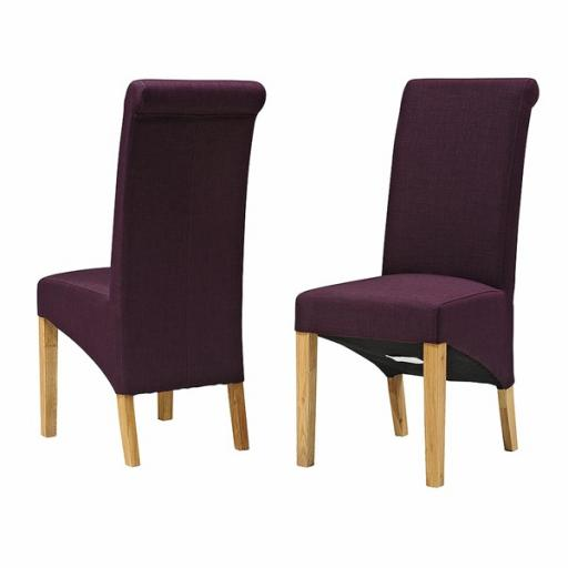 Plum Rollback fabric Dinning Chairs