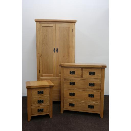 Oak Double Wardrobe Bedroom Set