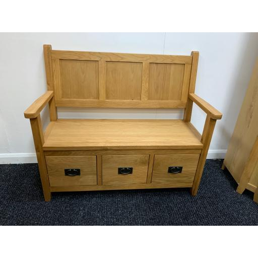 Oak Large 3 drawer Monks Bench
