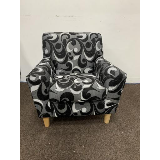 Compact Accent Armchairs in Grey with swirl patterned