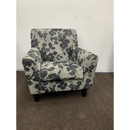 Compact Accent Armchairs in Grey with Flower Patten