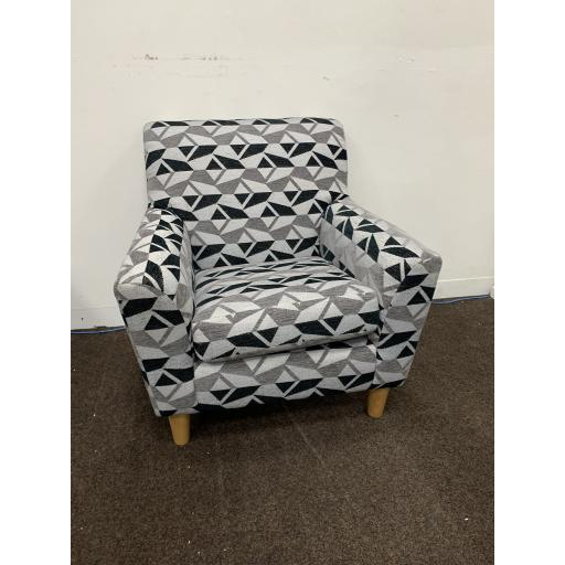 Compact Accent Armchairs in Grey with zig zag pattern