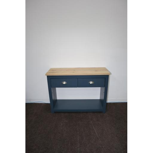 Aqua Blue 2 Drawer Console Table with Oak EffectTop.