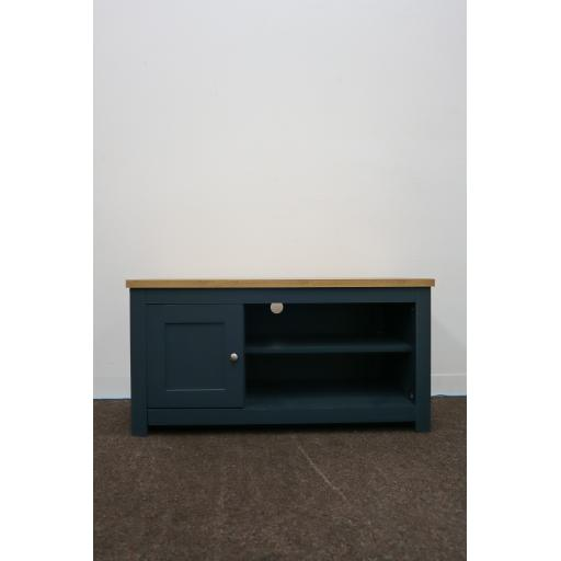 Aqua blue, I door tv unit with metal handles,
