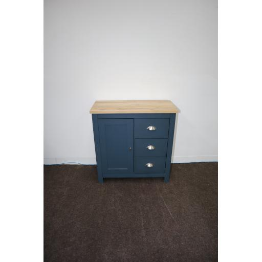 Aqua Blue 1 Door 3 Drawer Sideboard With. Oak effect Top