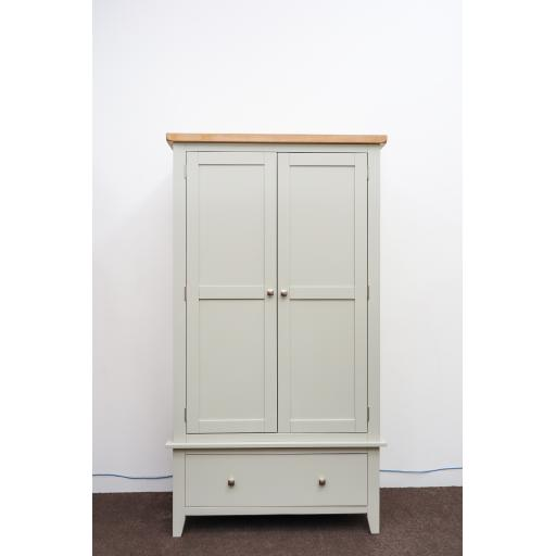 Grey Double Wardrobe with oak top
