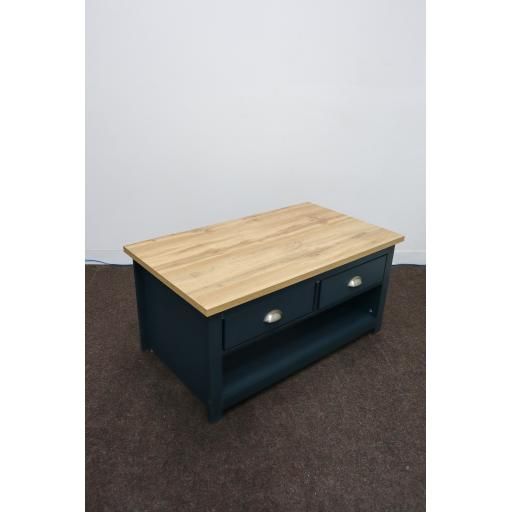 Aqua blue coffee table with 2 drawers