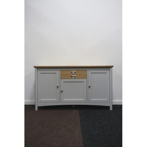 Light Grey 3 Door Sideboard with oak top