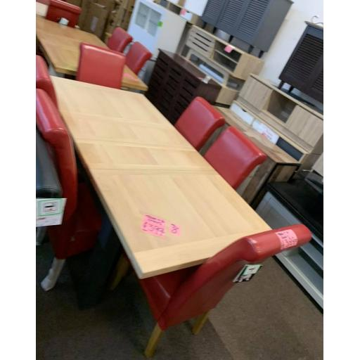 CHARCOAL DINNING TABLE WITH 6 RED CHAIRS